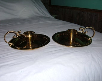 """2 Vintage Large Brass Plate Candle Holders-12 1/2"""" in Diameter"""