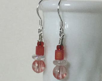 Artistic and delicate orange glass beaded drop earrings, sterling silver