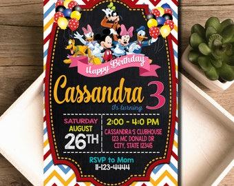 Disney Birthday, Disney Invitation, Disney Party, Disney Invite, Disney Birthday Invitation, Disney Party Invite, Disney Clubhouse, F0833