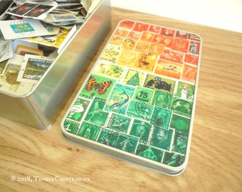Stamp Collector Gift Tin, Philately Starter Set | Sunset Orange Green Tin of Postage Stamps | Craft Supply Gift for Collage Decoupage Artist
