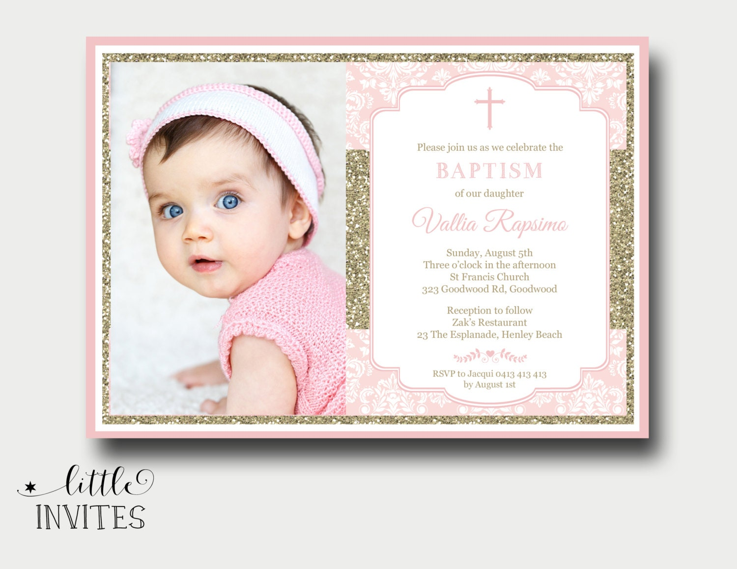 Girls Baptism InvitationPink and gold baptism