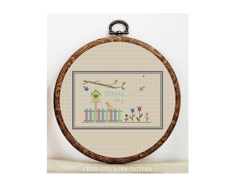 Happy Day-Cross Stitch Pattern-Modern Sampler-Pdf-Instant Download