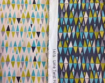 Makower lime twist harlequin fabric in charcoal or cream 100% cotton