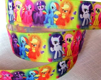 Ribbon grosgrain printed * 22 mm * my little pony Rainbow - sold by the yard