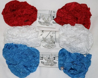 18 Yards Crinkled Seam Binding Red White and Blue Patriotic Crinkle Ribbon