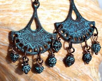 Antique Copper Fan Earrings, Mykonos Casting,Dangle Earrings,Jewelry