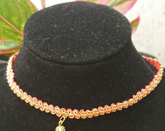 Yellow and Red Choker necklace