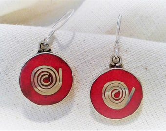 Round ethnic red earrings Nepal TIbet