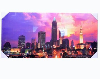 Sundown City Skyline Canvas Art