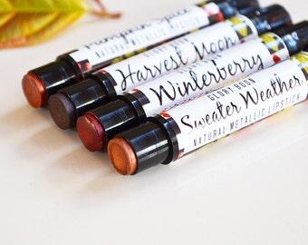Vegan metallic lipstick, all natural lipstick, lip color, makeup, bath and beauty