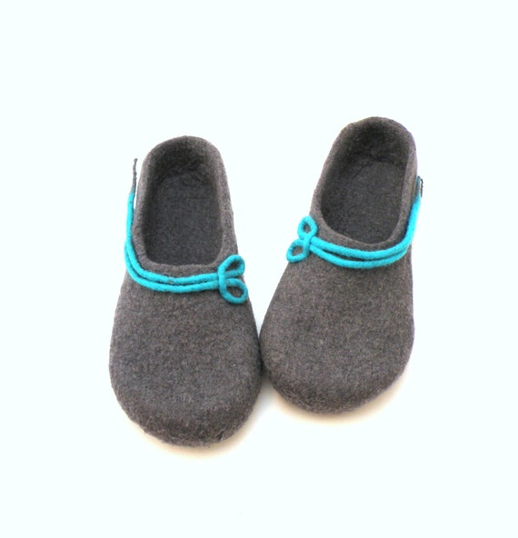 turqoise handmade winter slippers Women grey house wool valenki clogs slippers hausschuhen shoes filz Autumn fall slippers felt felted xIq88B
