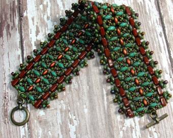 Copper Superduo Bracelet, Beaded Bracelet, Woven Bracelet, Seed Bead Bracelet, Beadwoven Bracelet, Superduo Bracelet, Autumn Bracelet