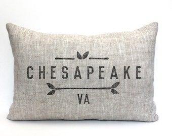 "city and state pillow, personalized pillow, location pillow, housewarming gift, farmhouse decor, christmas gift ""The Chesapeake"""