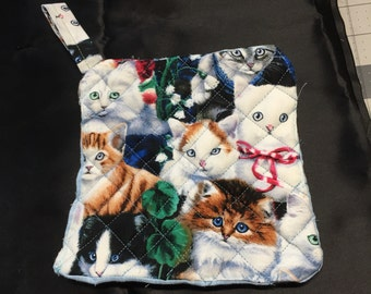 Potholder cats quilted, quilted kitten potholder