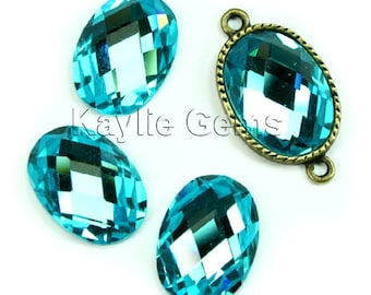 Mirror Glass Cabochon cab 18x13 Oval Checker Cut Faceted Dome -Aqua- 4pcs