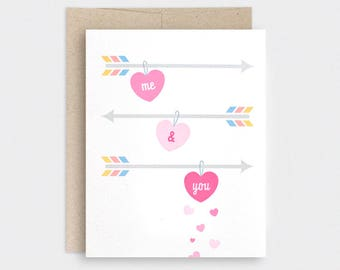 Cute Valentine Card, Anniversary Card, Valentine's Day Card -  Me & You, Forever and Always - Heart Candy, Love Card, Arrows - Recycled Card