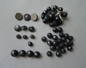 Victorian Black Glass Buttons & Beads , Antique 1800s Mixed Vintage Button Bead Lot
