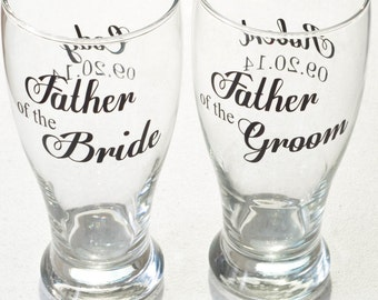 Father of the Bride Groom pilsner - 16oz - Personalized Wedding Pilsner - beer glass
