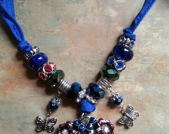 Beautiful Bejeweled Heart Pendant Silk Ribbon Necklace/Boho