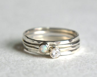 Set of Four Sterling Silver Opal Ring, Silver Stacking Ring, Dainty Ring, Hammered Stackable Ring, CZ Gemstone, Opal Ring, Simple