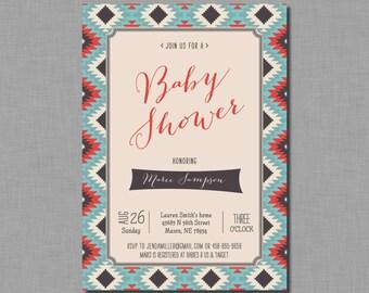 Tribal Baby Shower Invitation red blue BD74 Digital or Printed