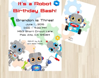 Robot Invitation, Robot Party Decor, Robot Party, Robot Invite, Robot Birthday, Robot Birthday Party *Print or Digital*
