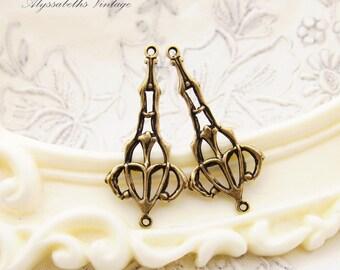 Antiqued Brass Ox Art Nouveau Filigree Earring Drops Connectors 28mm - 6