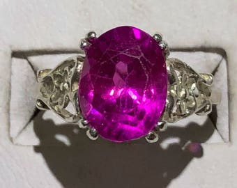 Natural pink sapphire silver ring size 6
