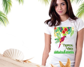 Tropical Vibes T, Tropical Parrot Tee, Macaw Parrot Design T, Hibiscus Design, Anvil Womens T-Shirt, Tropical Tee, Tropical Leaves Flowers