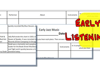 Music Education Activity Early Jazz Listening Chart