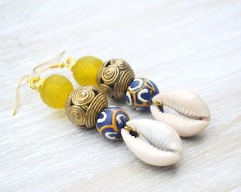 African Krobo Bead Earrings, Afrocentric Earrings, Bohemian Jewelry, Ethnic Earrings