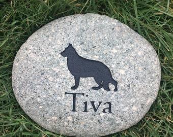 Custom Engraved Dog Real River Rock Stone Pet Memorial German Shephard
