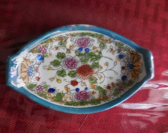 Vintage 1940s to 1960s Colorful Small Dish Floral Oblong Made in Japan Blue Trim Lusterware Butter Pat? Porcelain