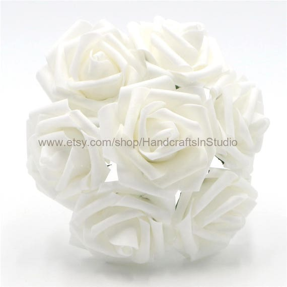 White flowers foam roses artificial white flowers 100 stems for white flowers foam roses artificial white flowers 100 stems for bridal bouquets wedding decoration table centerpieces bulk flowers lnpe009 from mightylinksfo Images