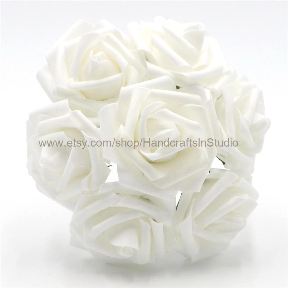 White Flowers Foam Roses Artificial White Flowers 100 Stems For ...