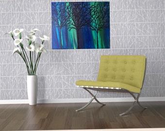 Northern Lights Art - Northern Lights Painting - Aurora Sky Painting - Acrylic Painting - Aurora Borealis Art - Canvas Painting