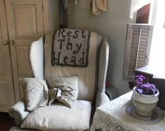 Rest Thy Head ~ LINEN Rug Hooking Pattern from Notforgotten Farm™