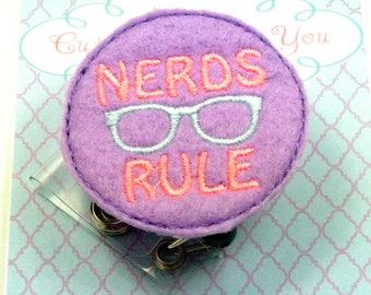 Nerds Rule Felt Badge Reel | Nurse Badge Reel | Nerds Rule Paper Clip | ID Badge Reel |  Retractable Badge | Nurse Gift | Nurse Badge Clip