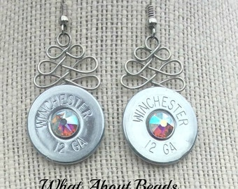 Silver Shotgun Shell Earrings with Swarovski Crystal