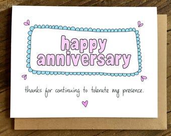 Funny Anniversary Card - Anniversary Card - Tolerate My Presence.