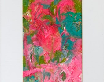 Abstract Painting, Original Small Acrylic Painting,  Pink Turquoise Contemporary Fine Modern Wall Art Home Decor