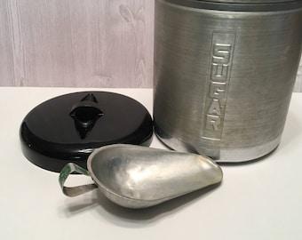 Mid-Century Brushed Aluminum Sugar Canister