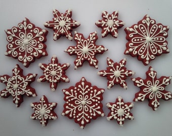 Red Velvet Snowflake Cookies - One Dozen Decorated Christmas / Winter / Holiday Cookies