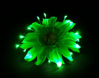 Green Small LED Glow Light Up Flower Hair Clip