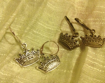 Beautiful Crown Earrings on Lever Backs