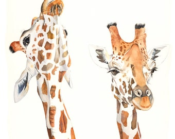 Giraffe Watercolor Painting - PRINT of watercolor painting A4 size
