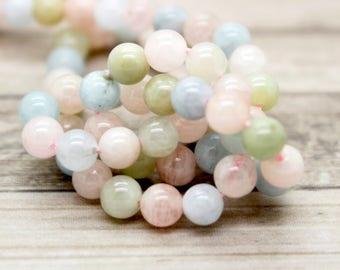 Natural Morganite Polished Round Beads Gemstone (4mm 6mm 8mm 10mm)