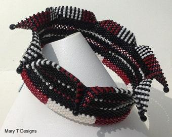 Jester Bangle Bracelet in Black, White and Red...EBW...