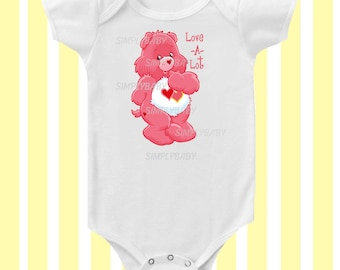 Care Bears Love-a-lot 1980's inspired Baby Bodysuit by Simply Baby