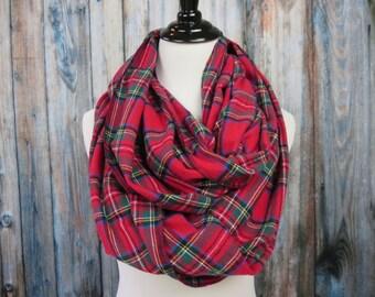 Plaid Infinity Scarf -Infinity Scarf-Red Plaid Scarf - Royal Stewart Tartan Plaid - Flannel Infinity Scarf - Womens Scarves